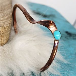 Sterling Copper Turquoise Cuff Bracelet Navajo